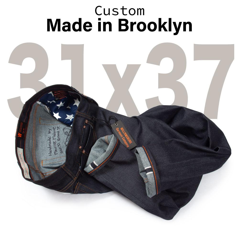 Size 31x37 raw selvedge custom jeans handmade in Brooklyn for a tall slim guy.