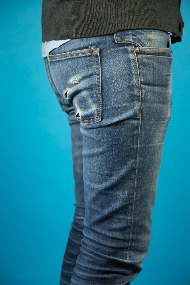 Daniel Herndon's faded raw stretch denim jeans