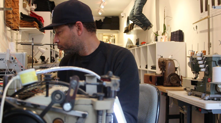 Denim repair & jeans alterations by Maurice Malone in Brooklyn denim store