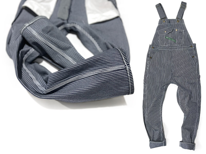 Close-up inside sewing of striped tailored overalls & full view of tapered overalls.