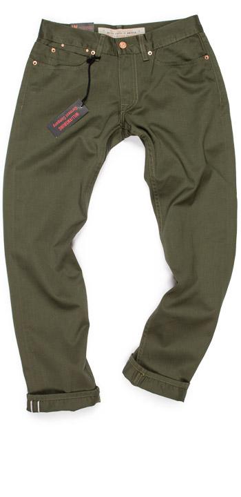 Williamsburg Grand Street fit guide Green twill pants