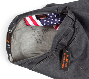Handmade jeans autographed by designer Maurice Malone