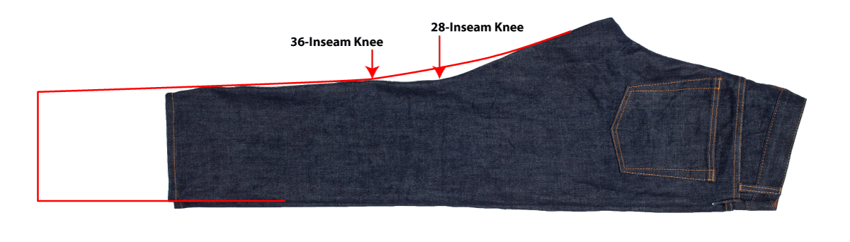 How to taper and hem a size 30x36 jean to size 30x28