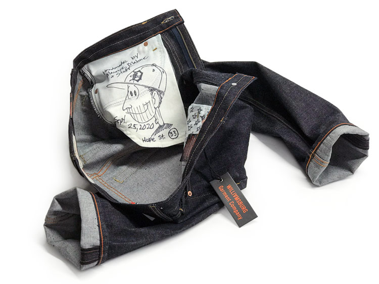 Custom-made jeans size 44, handmade for big men in Japanese selvedge raw denim jeans with measurements chart.