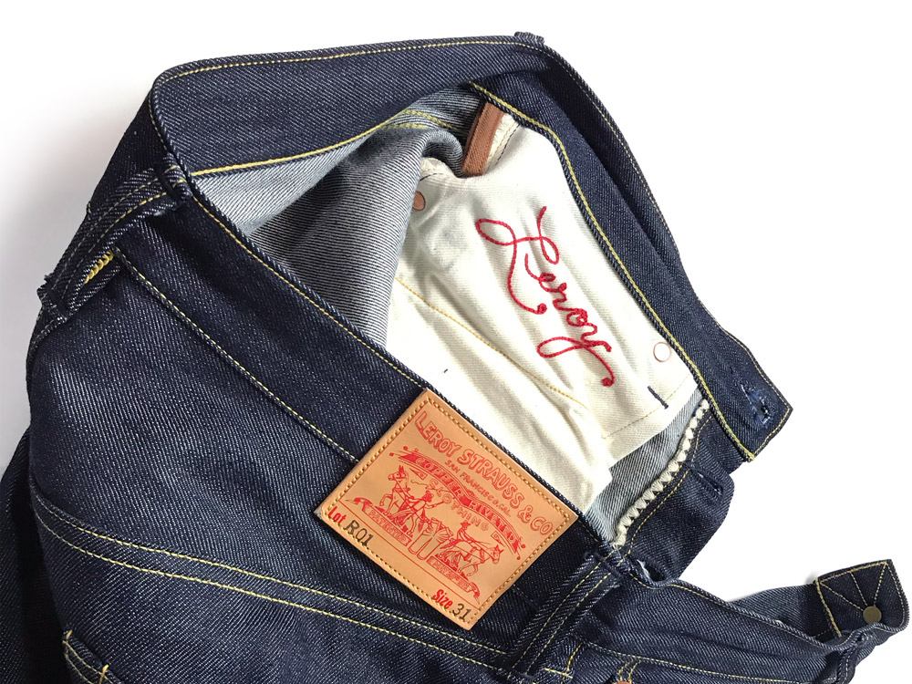 Before & after hemming the Leroy Strauss R01 parody jeans by Roy Denim