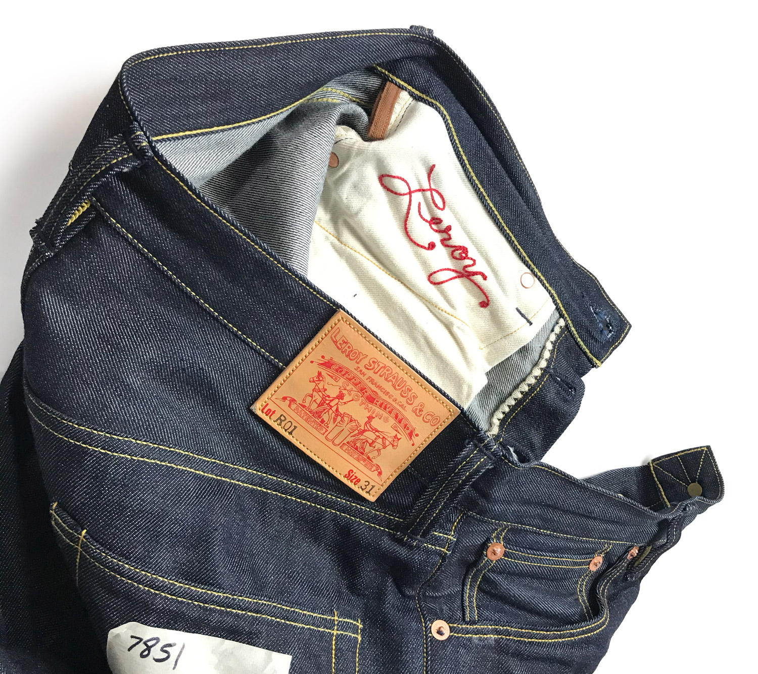 Close-up details of Roy Denim's R01 limited batch Leroy Strauss jeans