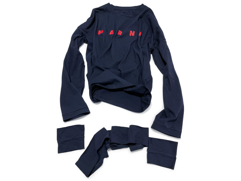 Marni t-shirt altered to fit with tailored sleeve alterations & shortened body length.