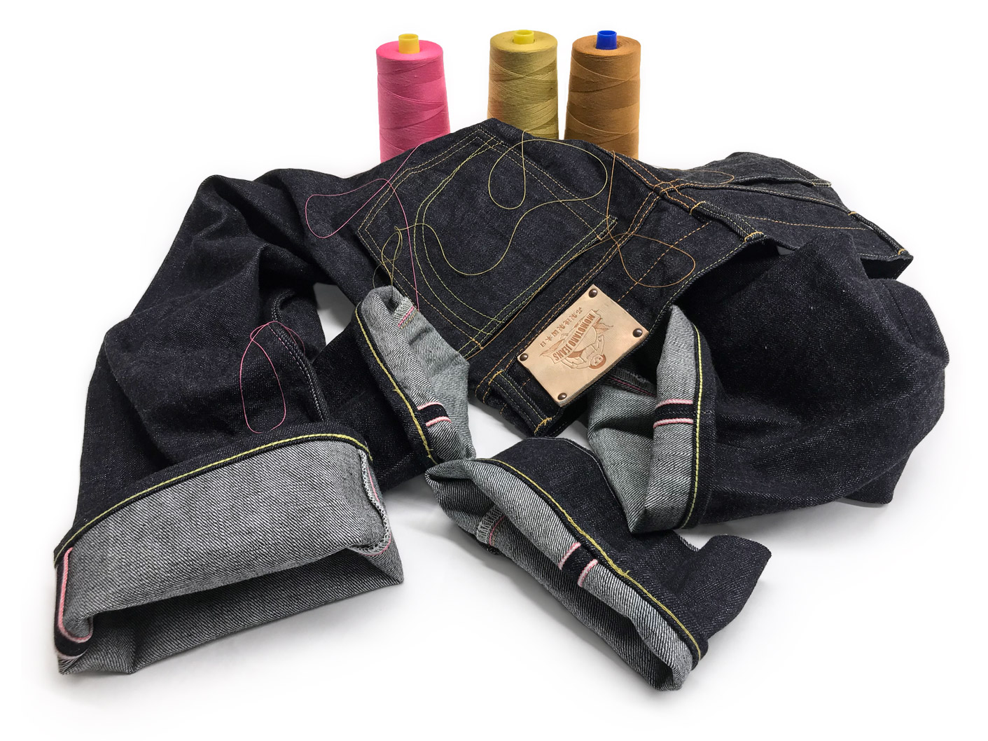 Momotaro jeans tailored professionally with chain stitch hemming and thread & quality matched tapering
