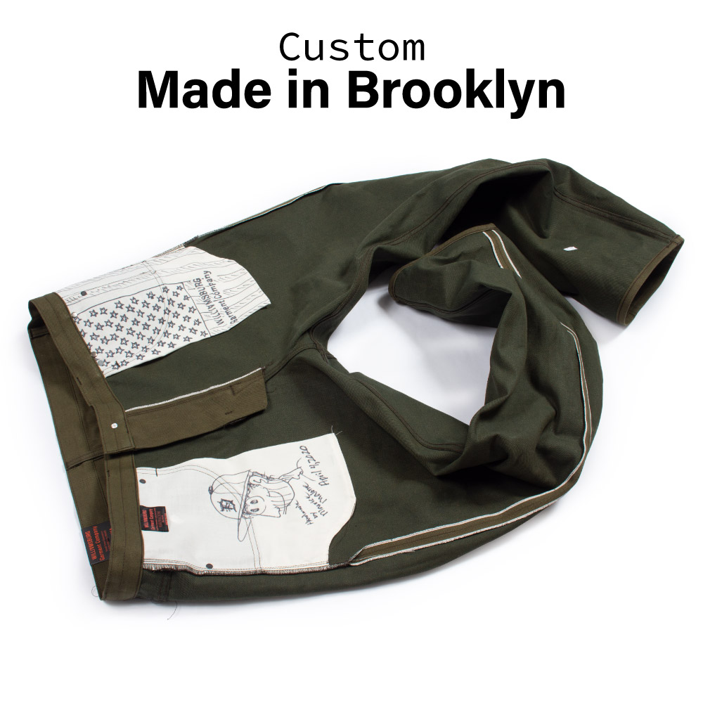Custom made size 44 jeans in Olive Green Japanese selvedge