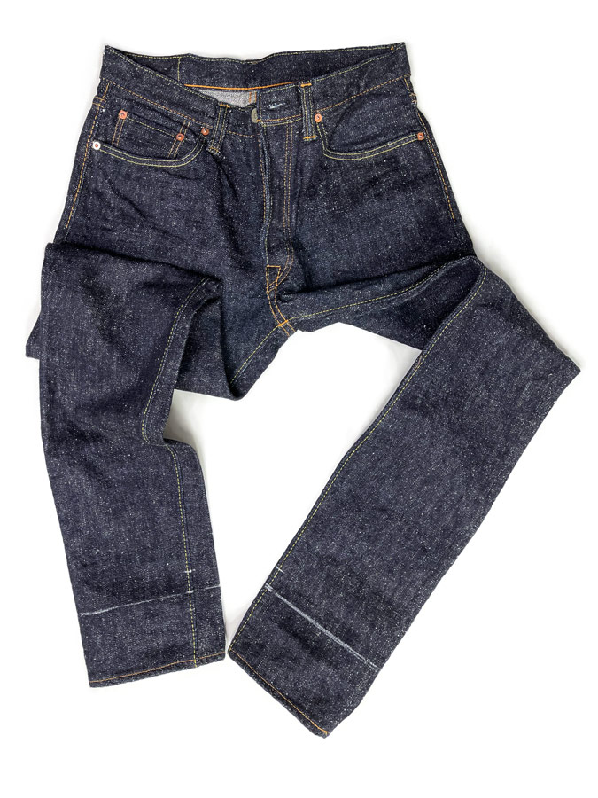 Pure Blue Japan jeans by Syoaiya marked for shortening the inseam alterations