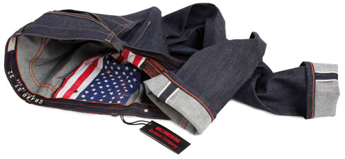 raw denim jeans display with American Flag pockets