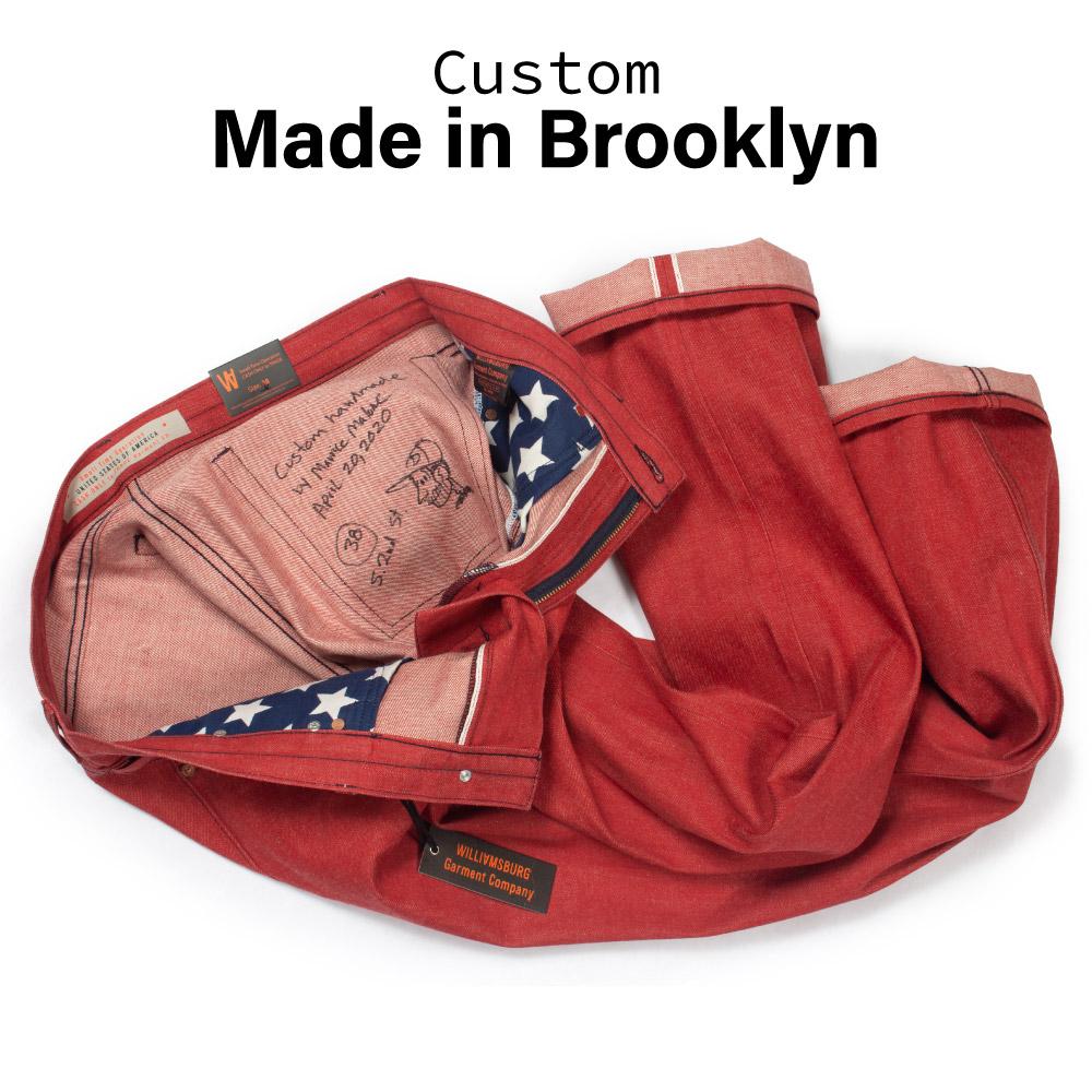 Red selvedge bespoke jeans handmade in Brooklyn by denim designer Maurice Malone for Williamsburg Garment Co.