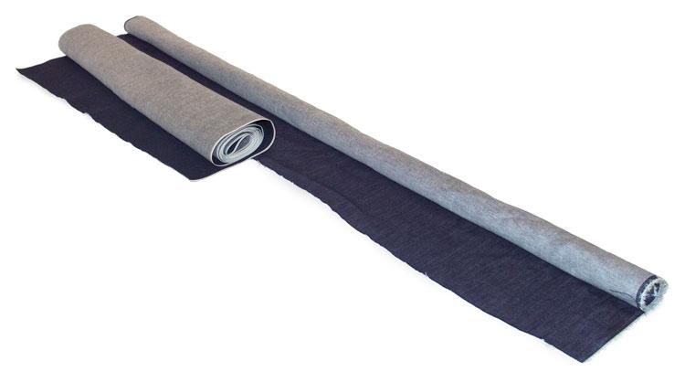Roll of selvedge denim and non-selvedge standard raw denim