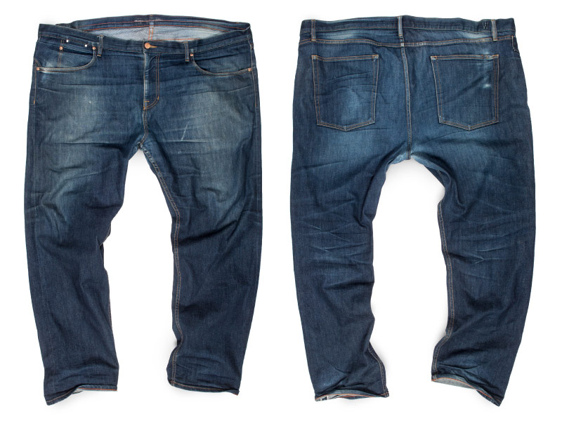 Size 48 big men's selvedge jeans faded at thighs with high contrast areas