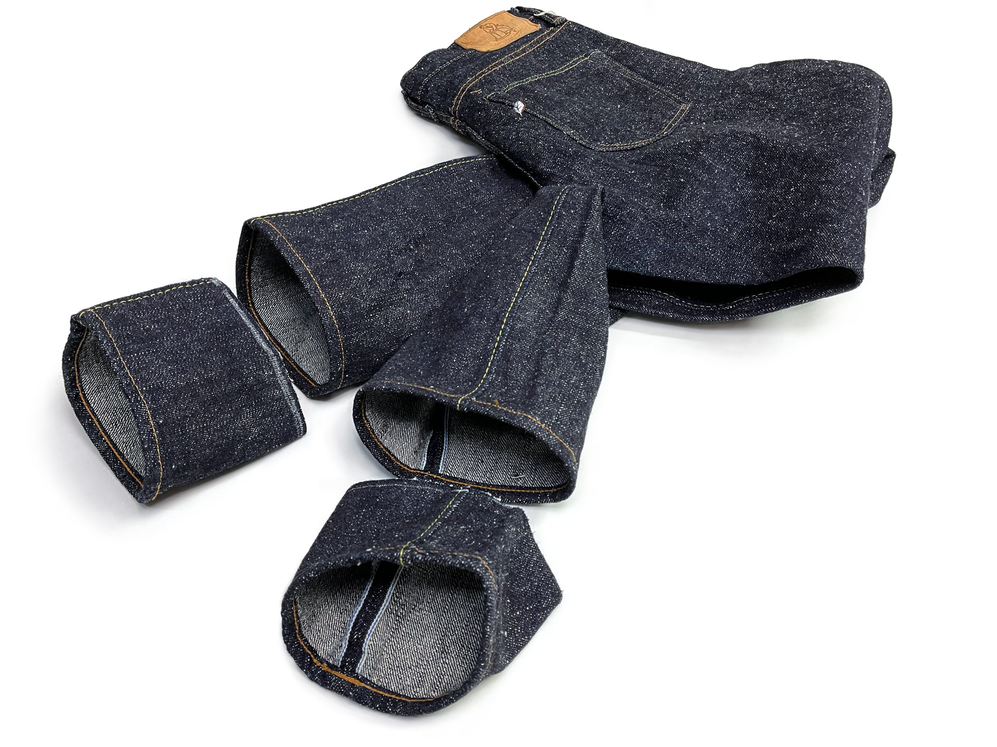 Syoaiya stubby raw selvedge Pure Blue Japan jeans with denim alterations by Williamsburg Garment Co.