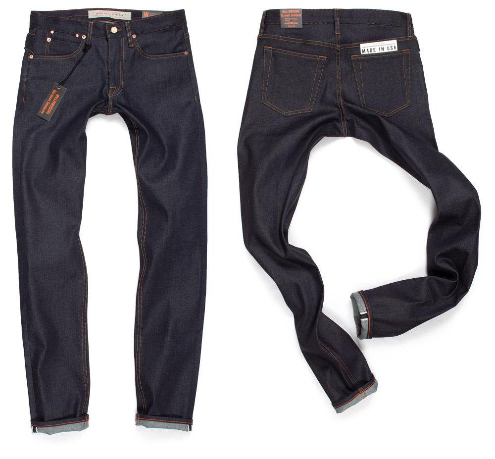 Slim stretch selvedge raw denim tall men's custom made jeans by Williamsburg Garment Company