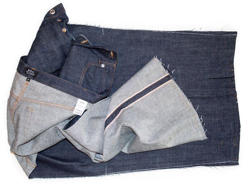 Selvedge raw A.P.C. jeans taken apart for tapering alterations