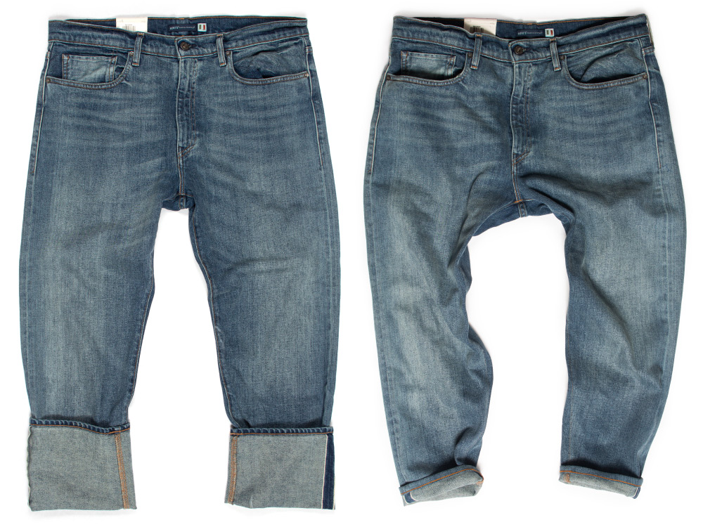 Before & After tapering Levi's Made & Craftedinto 36x27 inch inseam men's jeans.