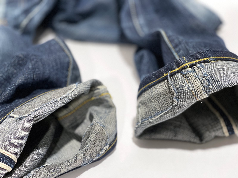 Video explains denim repairs on jeans that were too long.