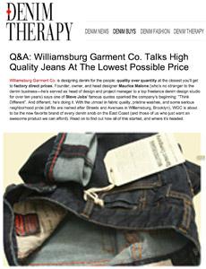Denim Therapy reviews Williamsburg Garment Co. raw denim jeans