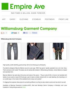 Williamsburg raw denim American made jeans news