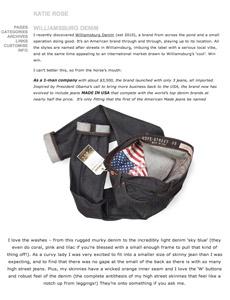 Williamsburg raw denim American made jeans