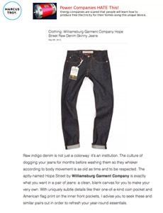 Marcustroy reviews Williamsburg raw denim American made jeans