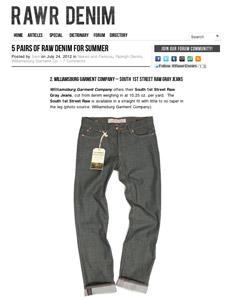 Rawr news article on Williamsburg gray raw denim jeans