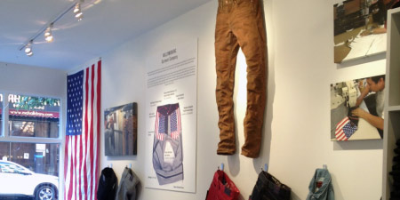 wall at williamsburg garment co denim store brooklyn ny