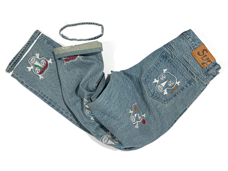 Customized skull Clayton Patterson Supreme jeans for women.