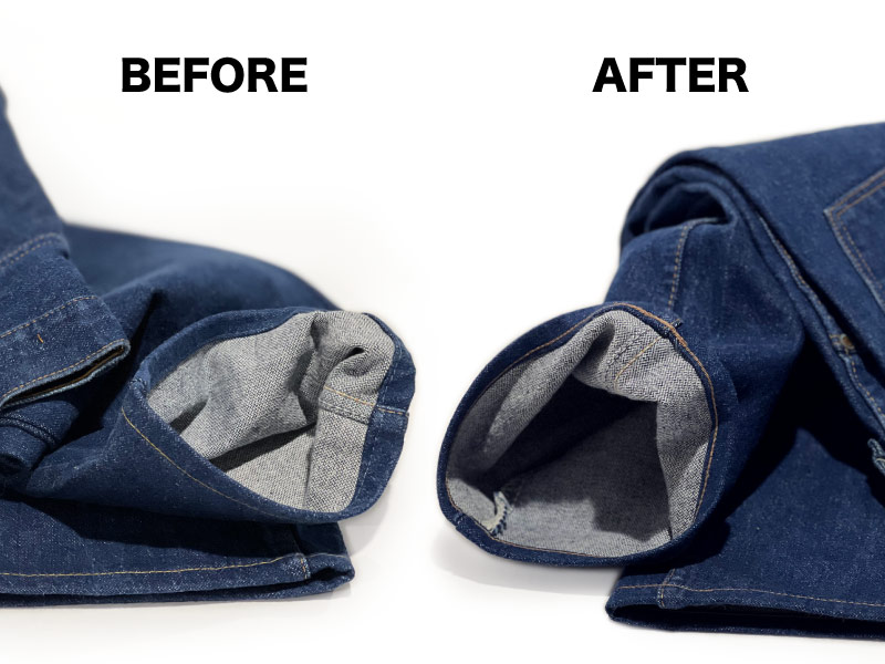 Before & after hemming alterations on vintage Wrangler jeans