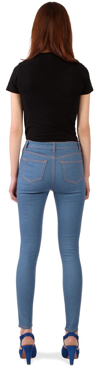 Rear view of Williamsburg womens high waisted skinny jeans