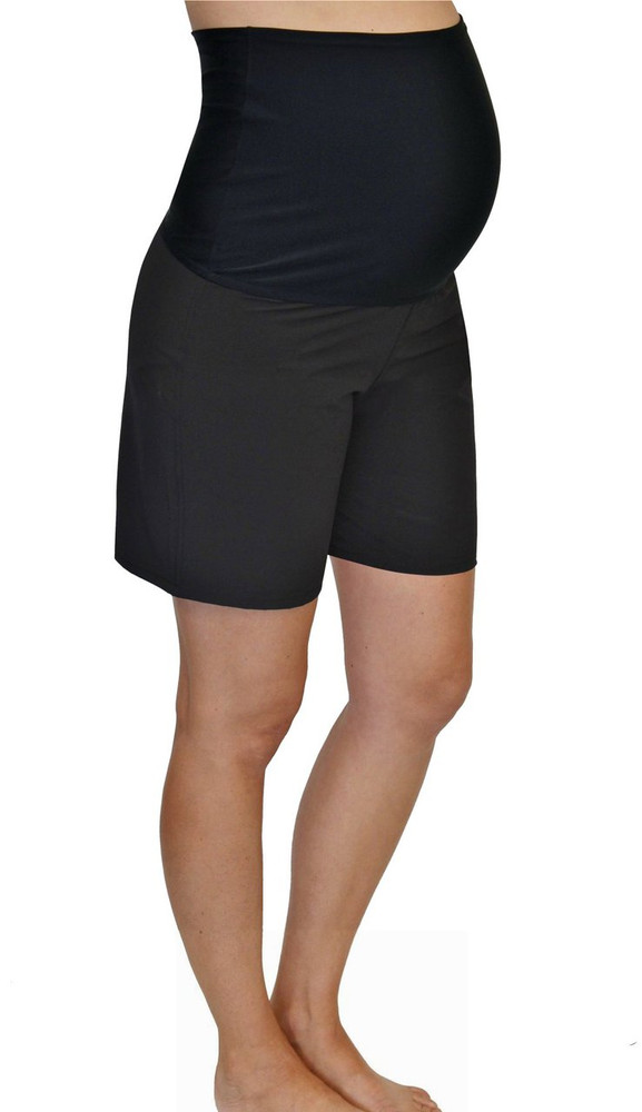 Fold Over Panel Maternity Board Shorts - Black