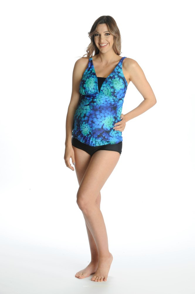 V Insert Maternity Tankini Top - Blue Mystique