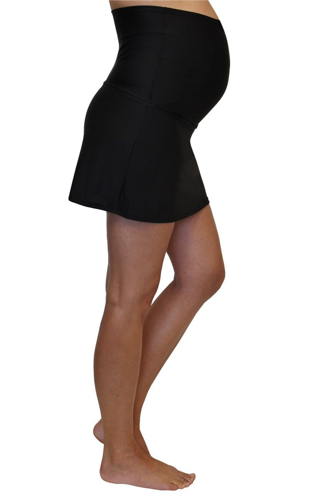 Fold Over Panel Maternity Swim Skirt With Attached Brief - Jet Black