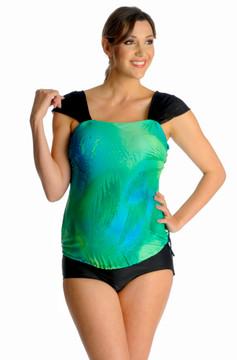Fold Over Panel Retro Maternity Swim Brief - Jet Black