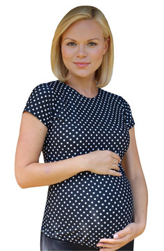 Maternity Rash Guard Swim Shirt - Black With White Polka Dot