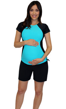 Illusion Maternity Rash Guard Swim Shirt - Tropical