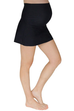 Fold Over Panel Maternity Swim Skirt With Attached Boy Short - Black