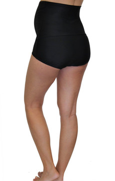 Fold Over Panel Retro Maternity Swim Brief - Black