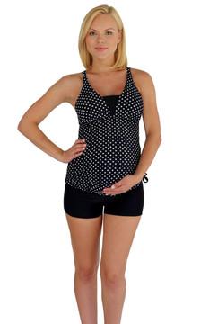 V Insert Maternity Tankini Top - Black With White Polka Dots
