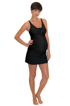V Insert Maternity Tankini Top - Black