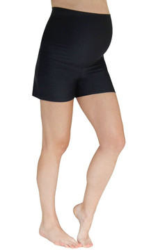 Fold Over Panel Maternity Swim Shorts - Black
