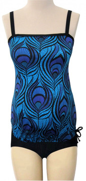 Bandeau Maternity Tankini Top - Peacock Passion