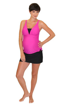 V Insert Maternity Tankini Top - Rose