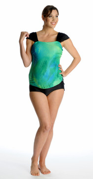 Mesh Sleeve Bandeau Maternity Tankini Top -  Island Splash