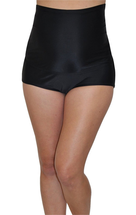 Fold Over Panel Retro Maternity Swim Brief - Jet Black