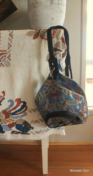 Convertible strap back pack in beautiful woven textile in kilim design.