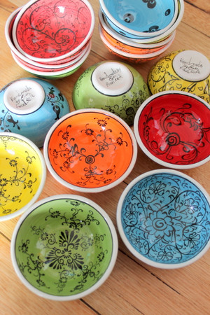 8cm colourful 'Mediterranean' bowls. Food safe, hand wash.