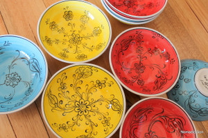 16cm colourful 'Mediterranean' bowls. Food safe, hand wash.